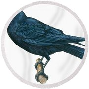 Crow Round Beach Towel by Anonymous