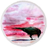 Crow At Dawn Round Beach Towel