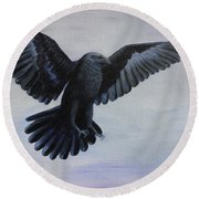 Crow Flight Round Beach Towel
