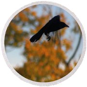 Crow In Flight 3 Round Beach Towel