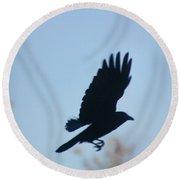 Crow In Flight 5 Round Beach Towel