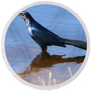 Crow In The Water Round Beach Towel