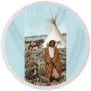Crow Indian 1902 Round Beach Towel