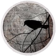 Crow Thoughts Collage Round Beach Towel