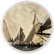 A Vintage Processed Image Of A Sail Race In Port Mahon Menorca - Crowded Sea Round Beach Towel