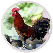 Crowing Red Junglefowl Rooster Round Beach Towel
