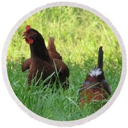 Crowing Rooster Round Beach Towel