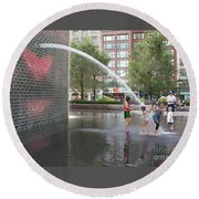 Crown Fountain Play Round Beach Towel