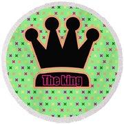 Crown In Pop Art Round Beach Towel by Tommytechno Sweden