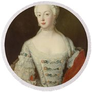 Crown Princess Elisabeth Christine Von Preussen, C.1735 Oil On Canvas Round Beach Towel