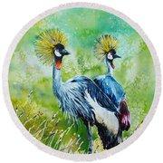 Crowned Cranes Round Beach Towel