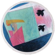 Crows And Geometric Figure Round Beach Towel