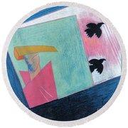 Crows And Geometric Figure Round Beach Towel