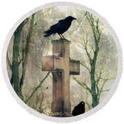 Urban Graveyard Crows Round Beach Towel
