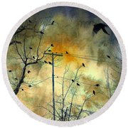 Crows Colors Round Beach Towel