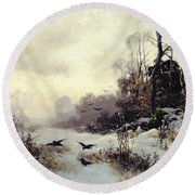 Crows In A Winter Landscape Round Beach Towel by Karl Kustner