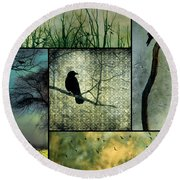 Crows In Nature Collage Round Beach Towel