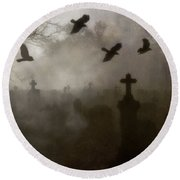 Crows On A Eerie Night Round Beach Towel
