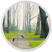 Crows On The Path Round Beach Towel