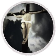 Crucified Christ Round Beach Towel