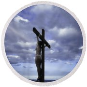 Crucifix In The Light Round Beach Towel