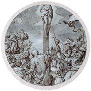 Crucifixion Round Beach Towel by Johann or Hans von Aachen