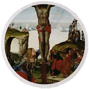 Crucifixion With Mary Magdalene Round Beach Towel