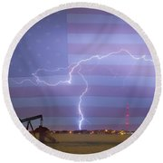 Crude Oil And Natural Gas Striking Across America Round Beach Towel by James BO  Insogna