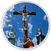 Cruficix Statue At Saint Alphonsus Church Wexford Round Beach Towel