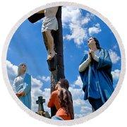 Cruficix Statue At St Alphonsus Church Wexford  Round Beach Towel