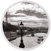 Cruise On The Seine Round Beach Towel