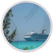 Cruise Ship At Half Moon Caye Round Beach Towel