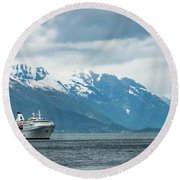 Cruise Ship In The Sognefjord In Norway Round Beach Towel