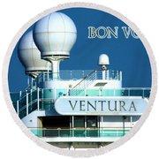 Cruise Ship Ventura's Radar Domes Round Beach Towel by Terri Waters