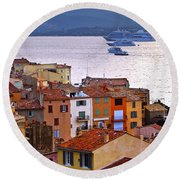 Cruise Ships At St.tropez Round Beach Towel