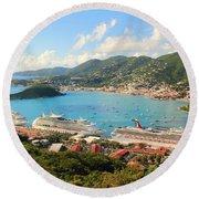 Cruise Ships In St. Thomas Usvi Round Beach Towel