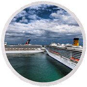 Cruise Ships Port Everglades Florida Round Beach Towel