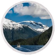 Cruising Alaska Round Beach Towel