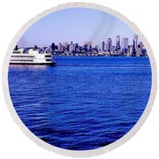 Cruising Elliott Bay Round Beach Towel