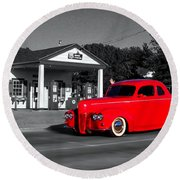 Cruising Route 66 Dwight Il Selective Coloring Digital Art Round Beach Towel