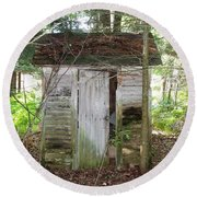 Crumbling Old Outhouse Round Beach Towel