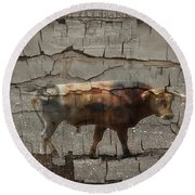 Crumbling Signage Painted Barn  Round Beach Towel