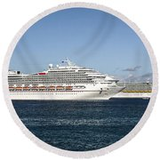 Cruse Ships At Anchor Round Beach Towel