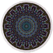 Crushed Blue Velvet Kaleidoscope Round Beach Towel