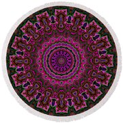 Crushed Pink Velvet Kaleidoscope Round Beach Towel
