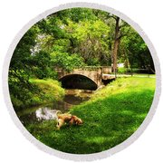Cruz At Deer Creek Bridge Dwight Il Round Beach Towel