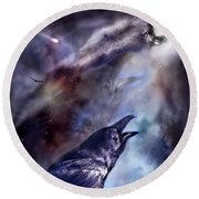 Cry Of The Raven Round Beach Towel