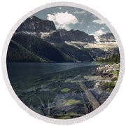 Crystal Clear Mountain Lake Round Beach Towel