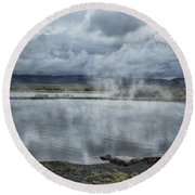 Crystal Crane Hot Springs Round Beach Towel