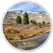 Crystal Creek In The Gros Ventre Round Beach Towel